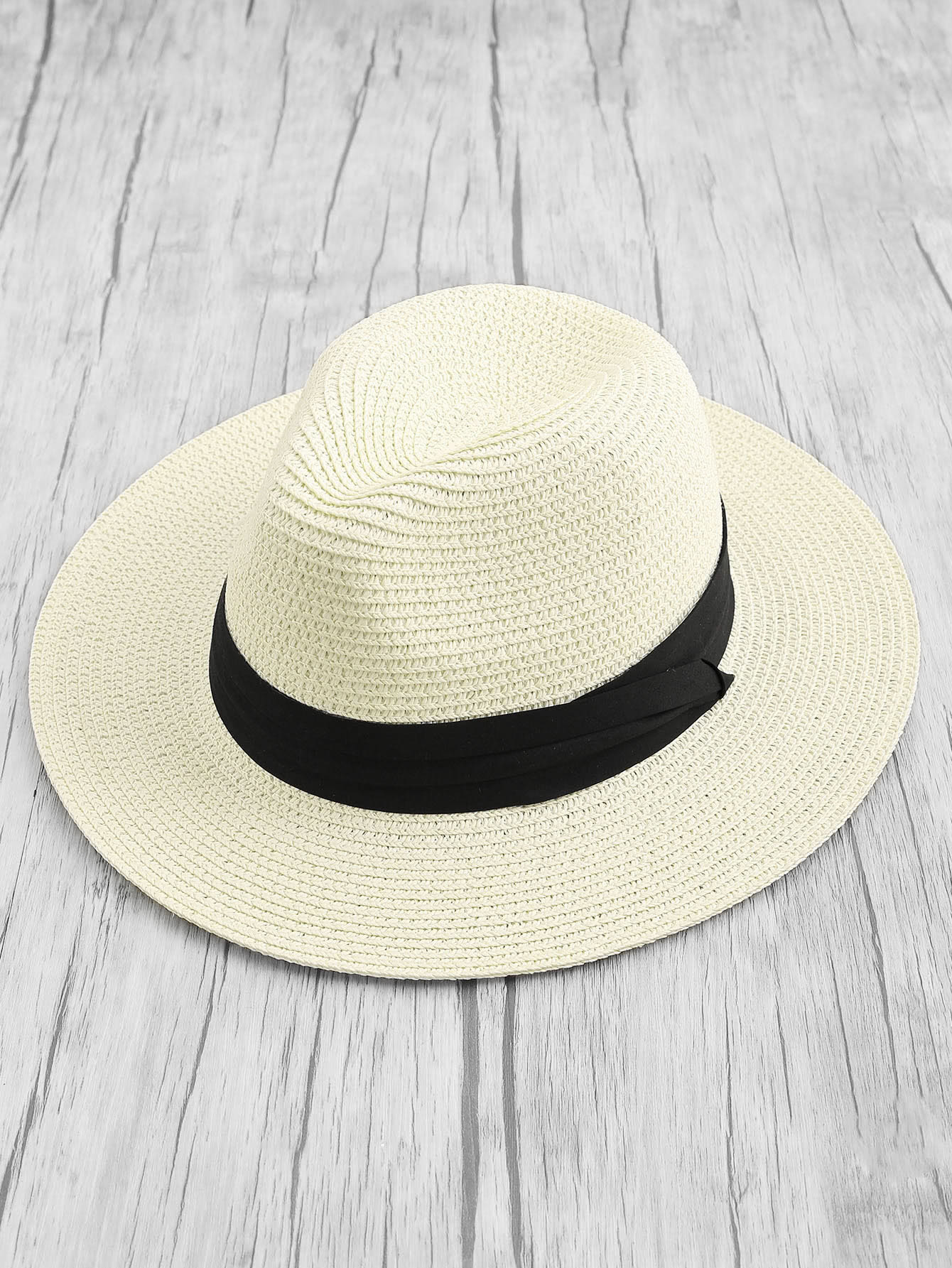 Contrast Band Straw Fedora Hat knot band straw hat