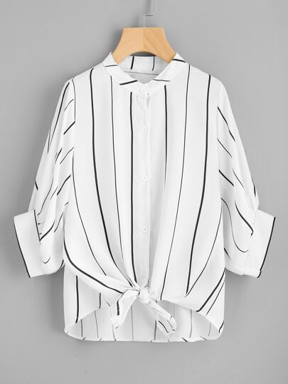 Vertical Striped Knot Front Dip Hem Blouse