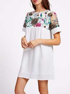 Flower Embroidered Yoke Sheer Back Smock Dress