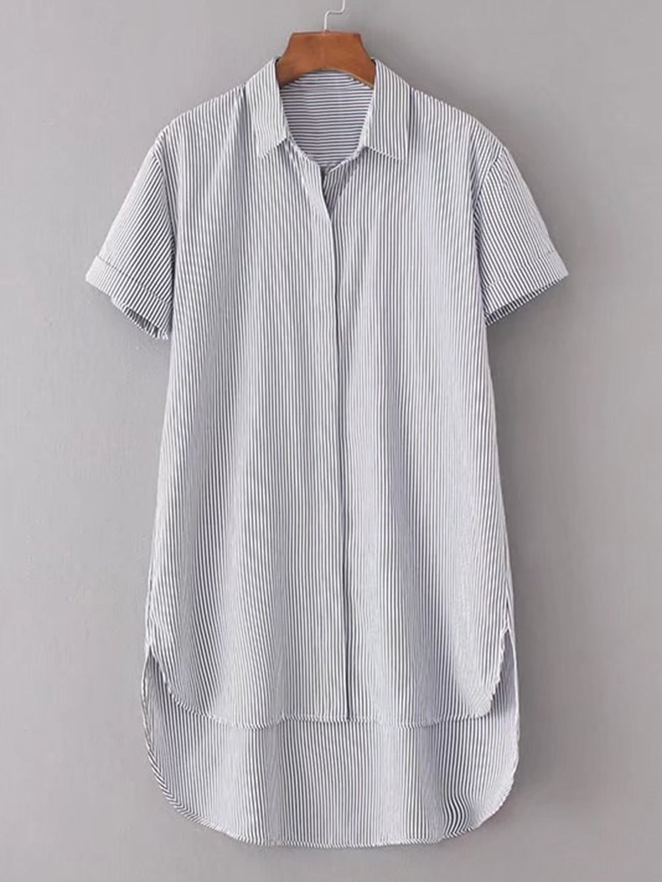Rolled Cuff High Low Shirt Dress
