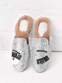 Eyelash Pattern Glitter Flat Mules With Faux Fur