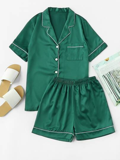 Contrast Piping Pocket Front Pajama Set