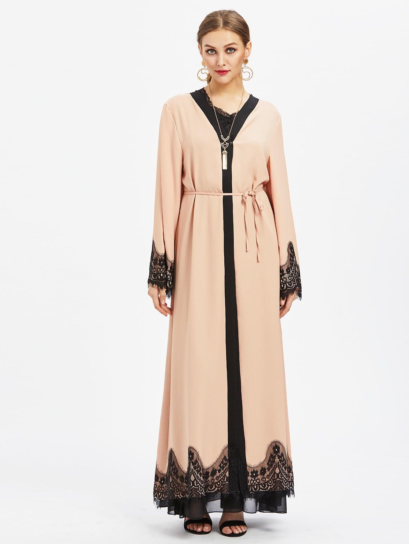 Фото Contrast Eyelash Lace Trim Longline Abaya. Купить с доставкой