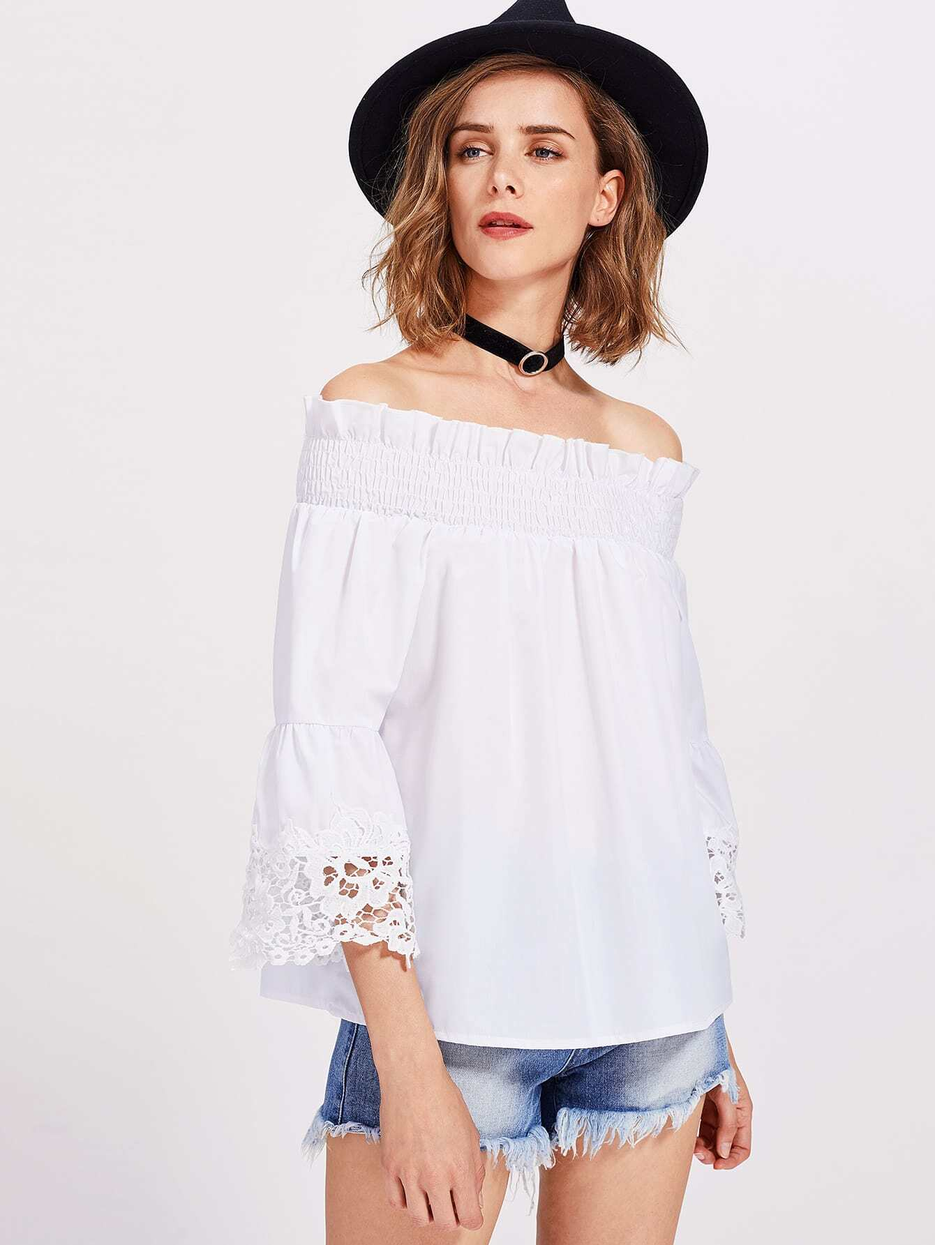 Lace Trim Fluted Sleeve Shirred Bardot Top pompom trim trumpet sleeve shirred bardot romper