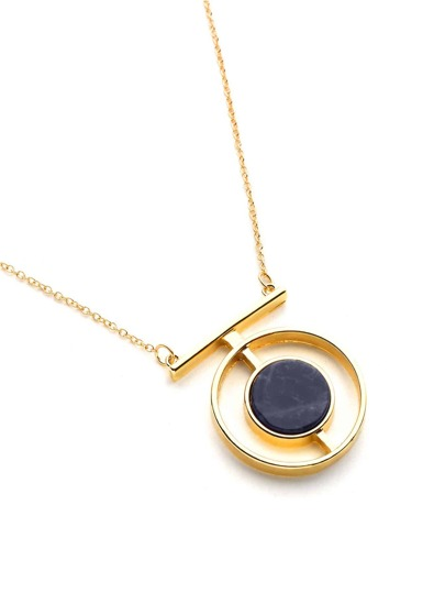 Contrast Geometric Pendant Chain Necklace