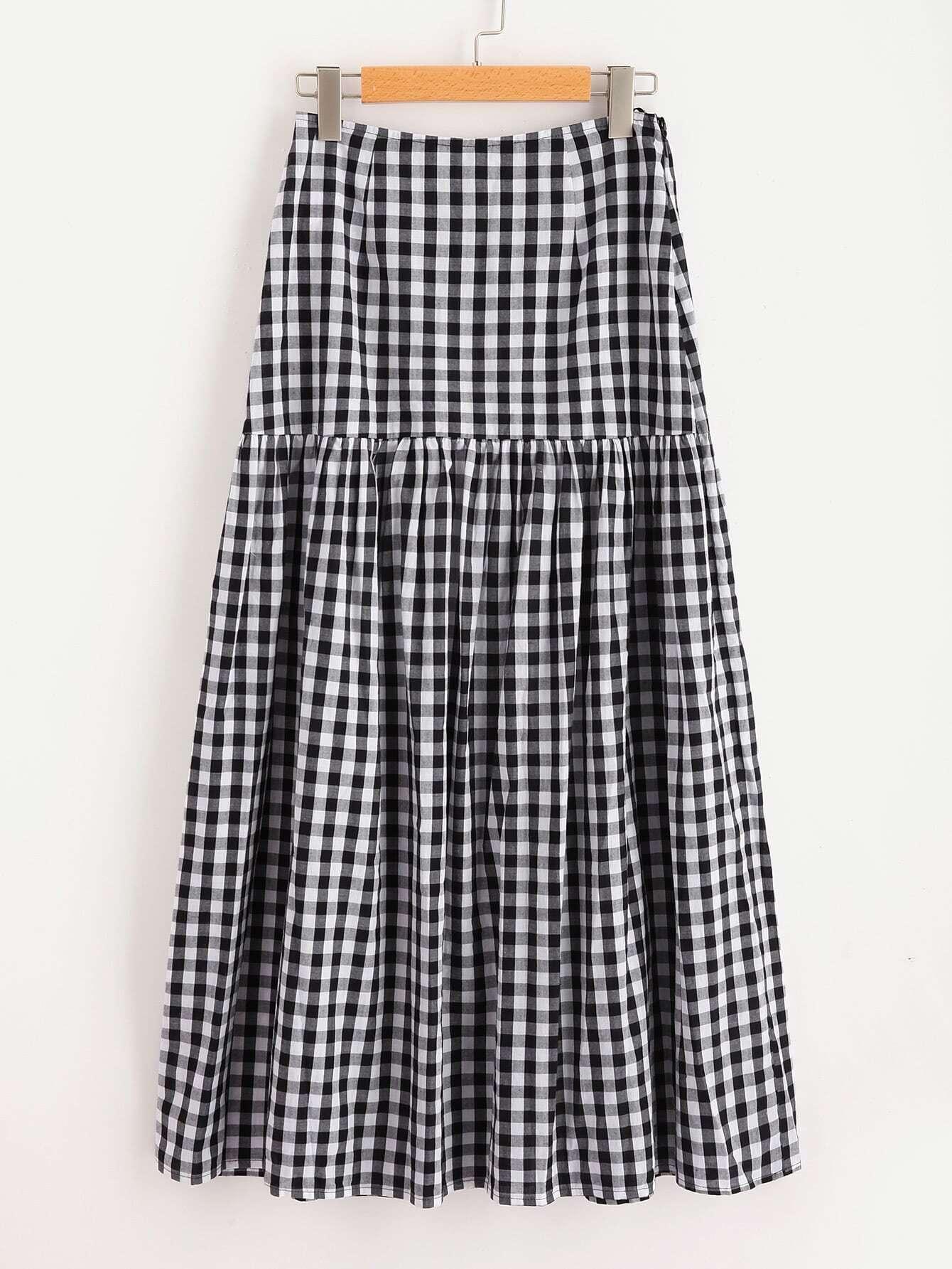 Фото Drop Waist Gingham Skirt. Купить с доставкой
