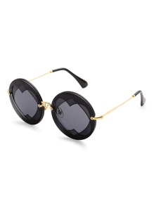 Layered Heart Round Sunglasses