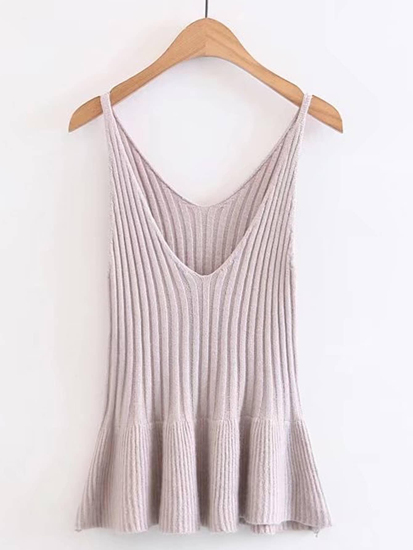 Фото Ruffle Hem Ribbed Sweater Vest. Купить с доставкой