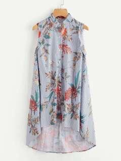 Floral Striped Dip Hem Dress