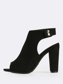 Cut Out Ankle Strap Peep Toe Heels BLACK