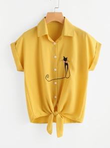 Cat Embroidered Cuffed Tie Hem Shirt