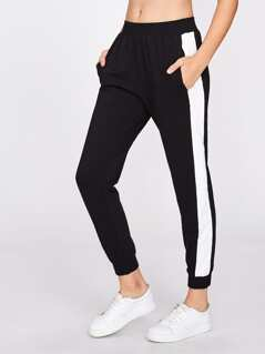 Contrast Panel Peg Sweatpants