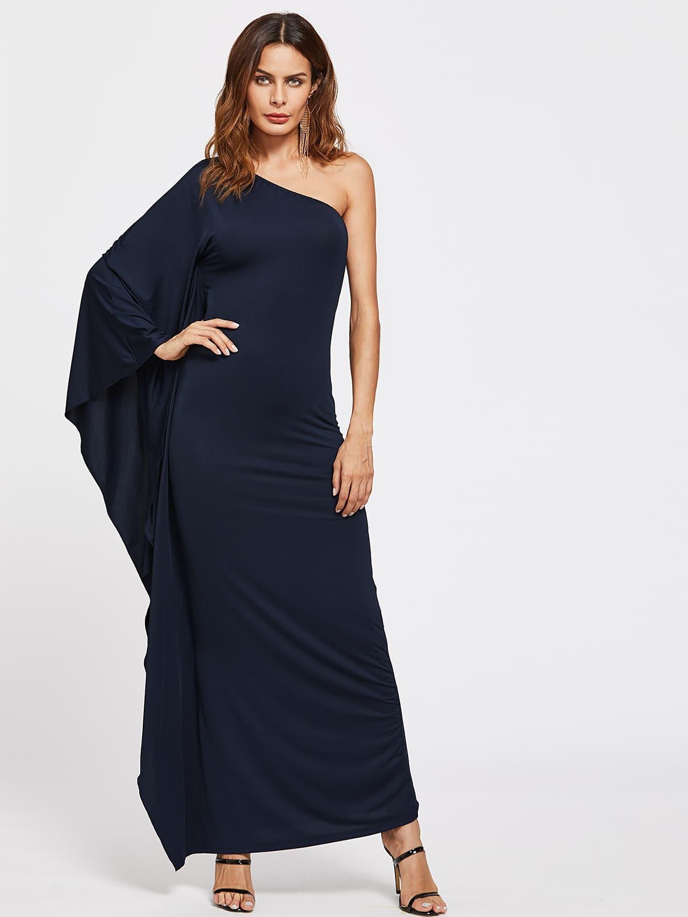 Фото Oblique Shoulder Ruched Detail Dress. Купить с доставкой