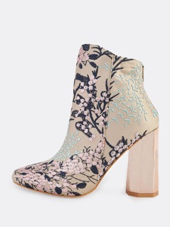 Cherry Blossom Embroidered Booties NUDE