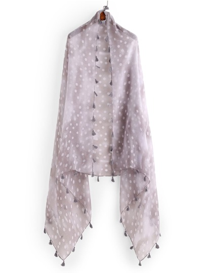 Polka Dot Print Scarf With Tassel