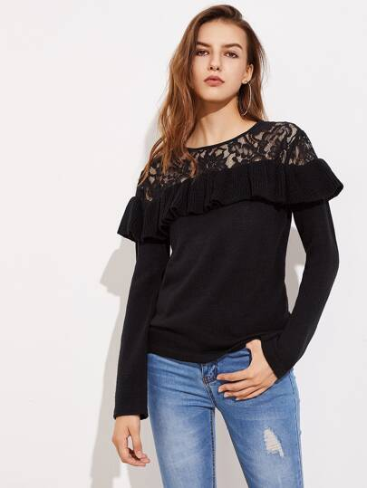 Floral Lace Shoulder Frill Trim Jumper