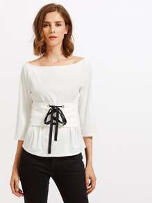 Lace Up Corset Belt Detail Top