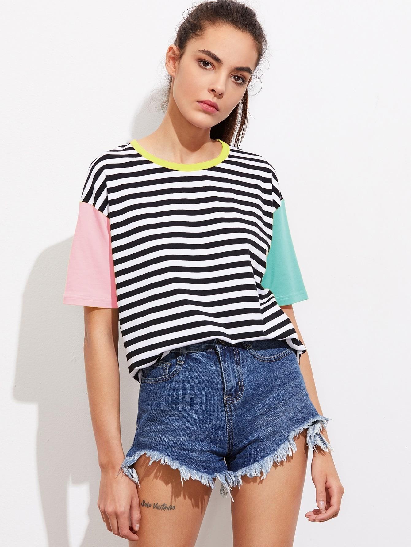 Купить Контрастная модная футболка в полоску, Carolina, SheIn