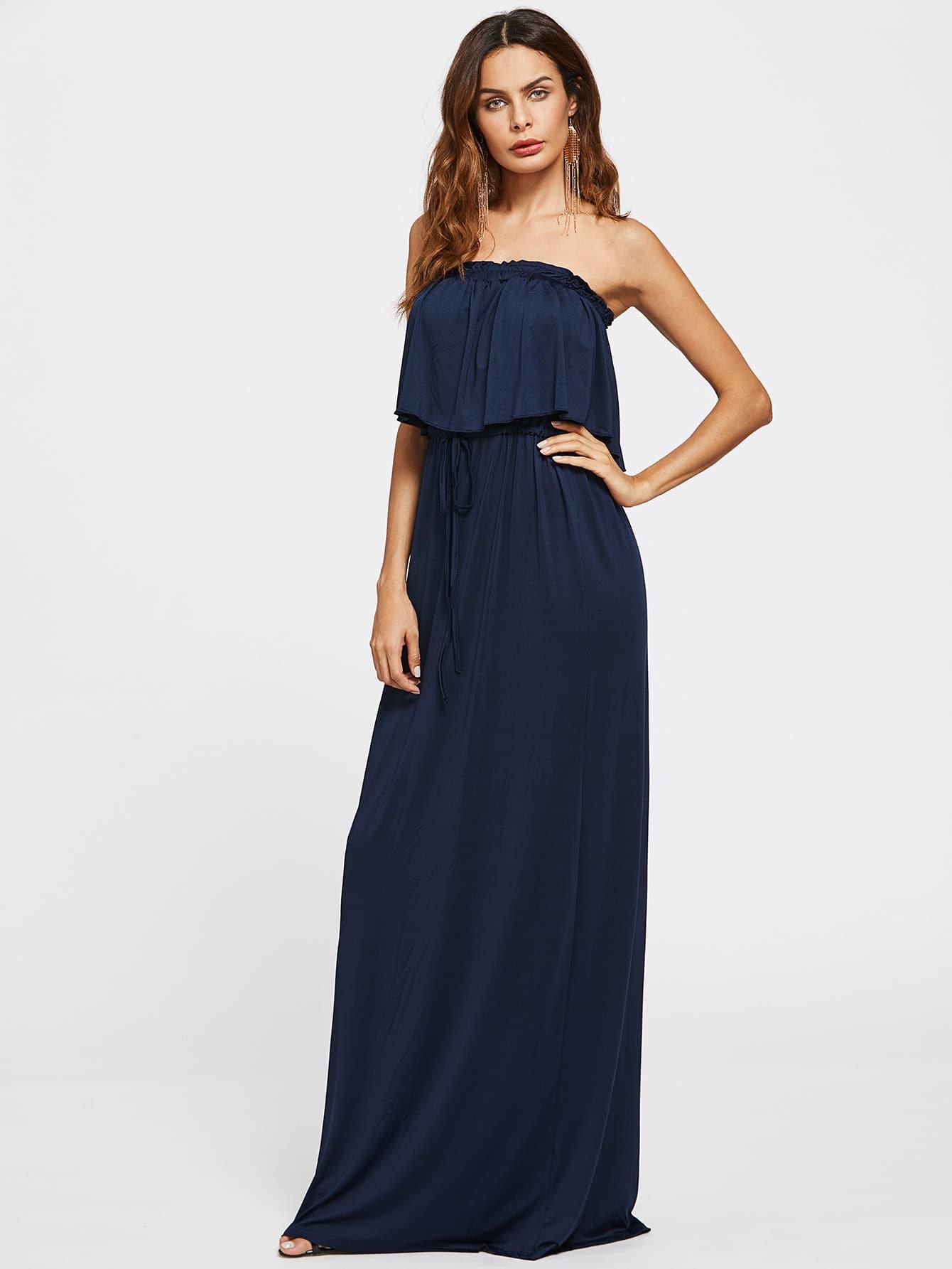 Фото Flounce Tie Waist Tube Dress. Купить с доставкой