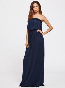 Flounce Tie Waist Tube Dress