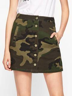 Button Through Camo Skirt