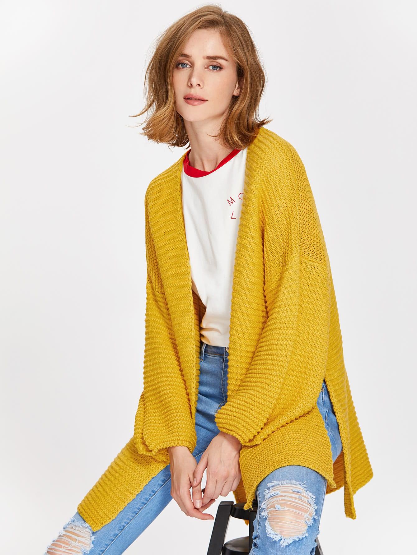 Drop Shoulder Lantern Sleeve Slit Textured Cardigan sweater170704451