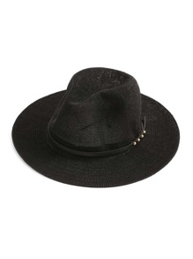 Metal Detail Faux Leather Band Straw Hat