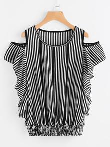 Contrast Vertical Striped Open Shoulder Frill Blouse