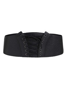 Eyelet Lace Up PU Belt