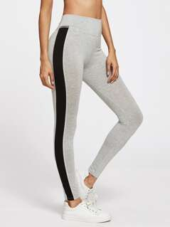 Contrast Panel Side Heather Knit Leggings