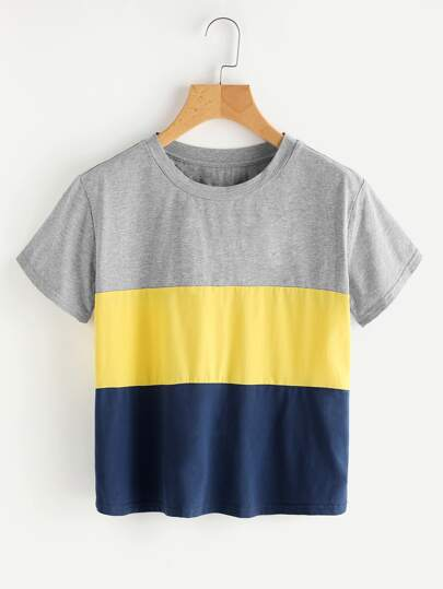 Marled Color Block Tee