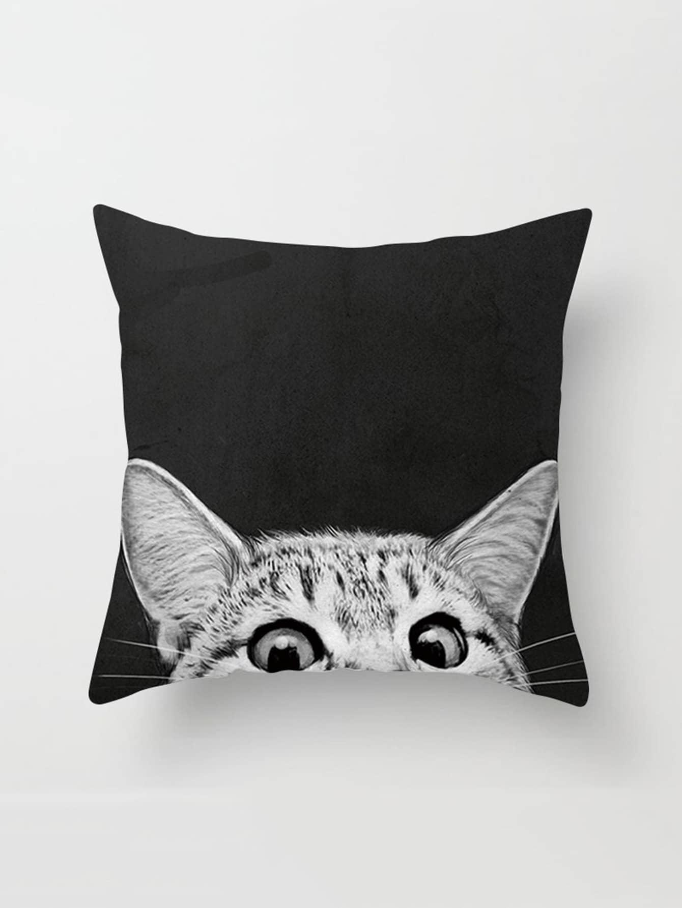 Cat Print Linen Pillowcase Cover