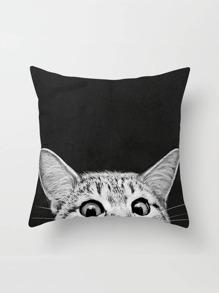 Taie d\'oreiller imprimée du chat en lin
