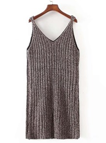 Double V Neck Ribbed Cami Dress