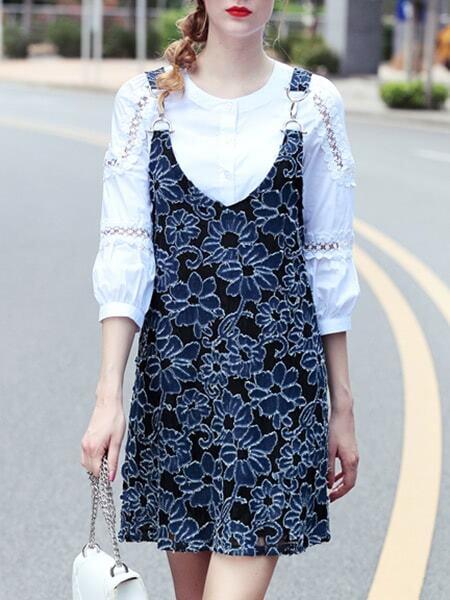 Фото Mesh Shirt Print Two-pieces Dress. Купить с доставкой