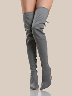 Solid Point Toe Thigh High Boots GREY
