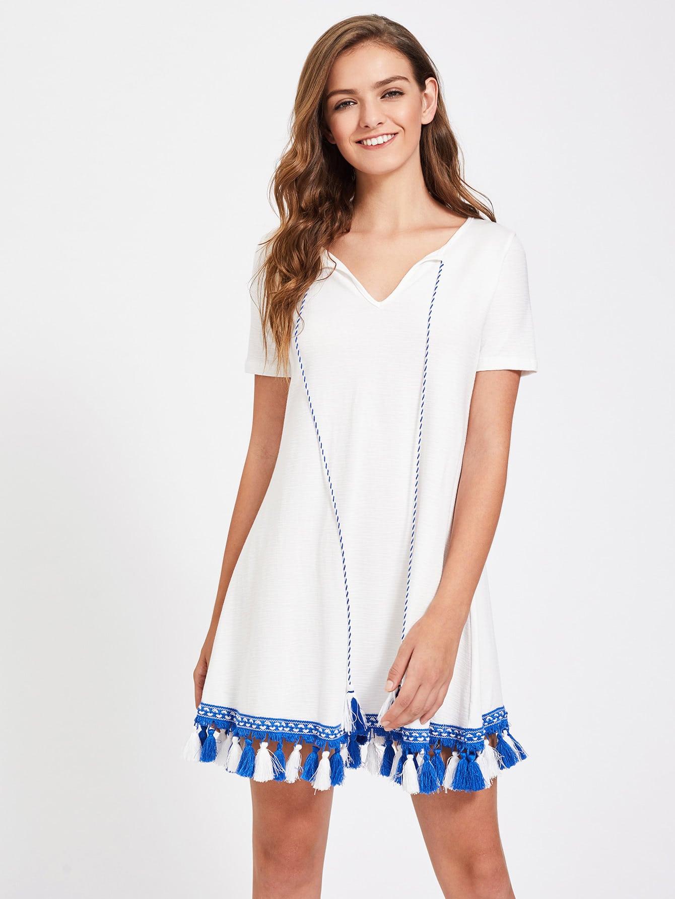 Фото Tie Neck Tassel Hem Slub Tee Dress. Купить с доставкой