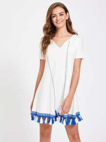 Tie Neck Tassel Hem Slub Tee Dress