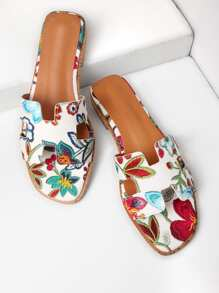 Flower Embroidery PU Slippers