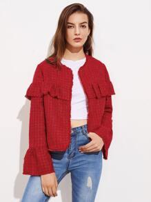 Fluted Sleeve Flounce Detail Frayed Tweed Jacket