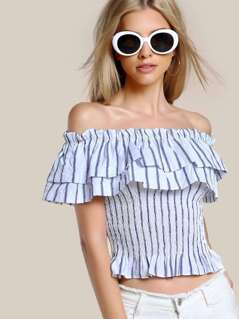 Off Shoulder Striped Flounce Shirt ROYAL BLUE