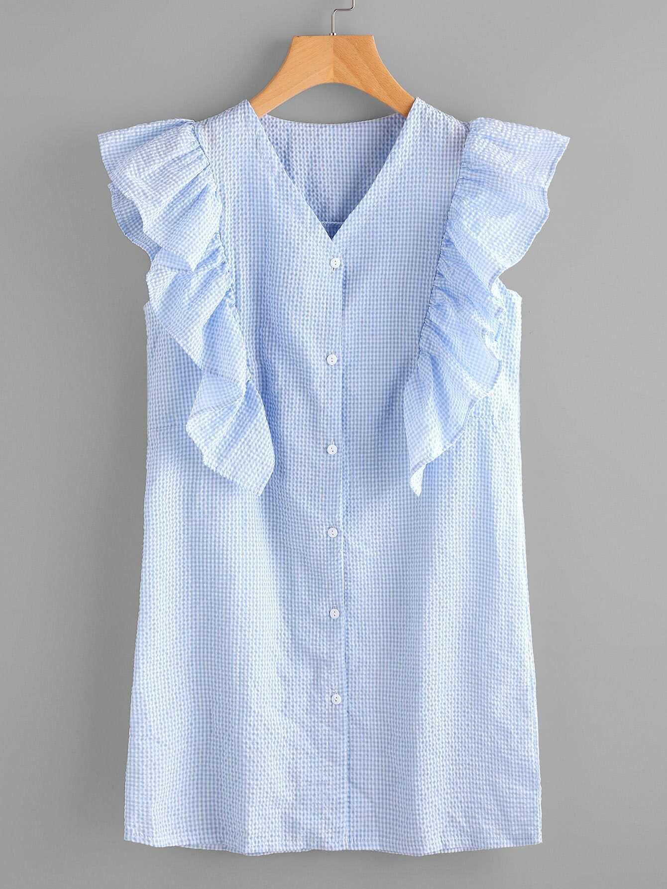 Фото Gingham Frill Trim Shirt Dress. Купить с доставкой