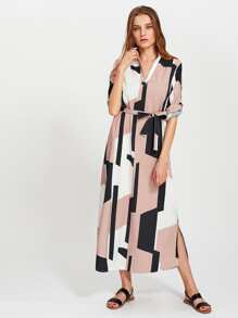 Geo Print V Neckline Self Tie Shirt Dress