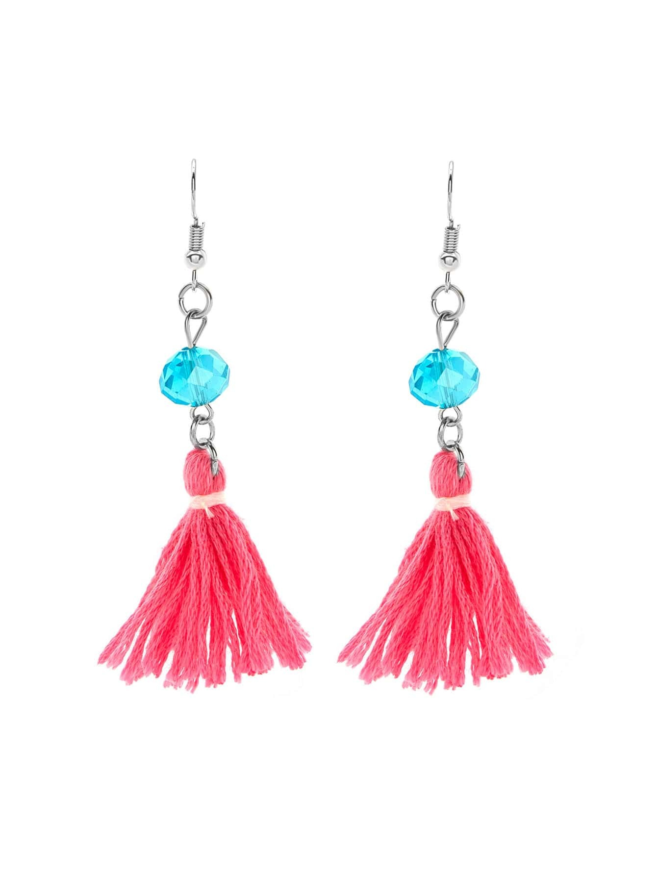 Фото Tassel Drop Earrings With Crystal. Купить с доставкой