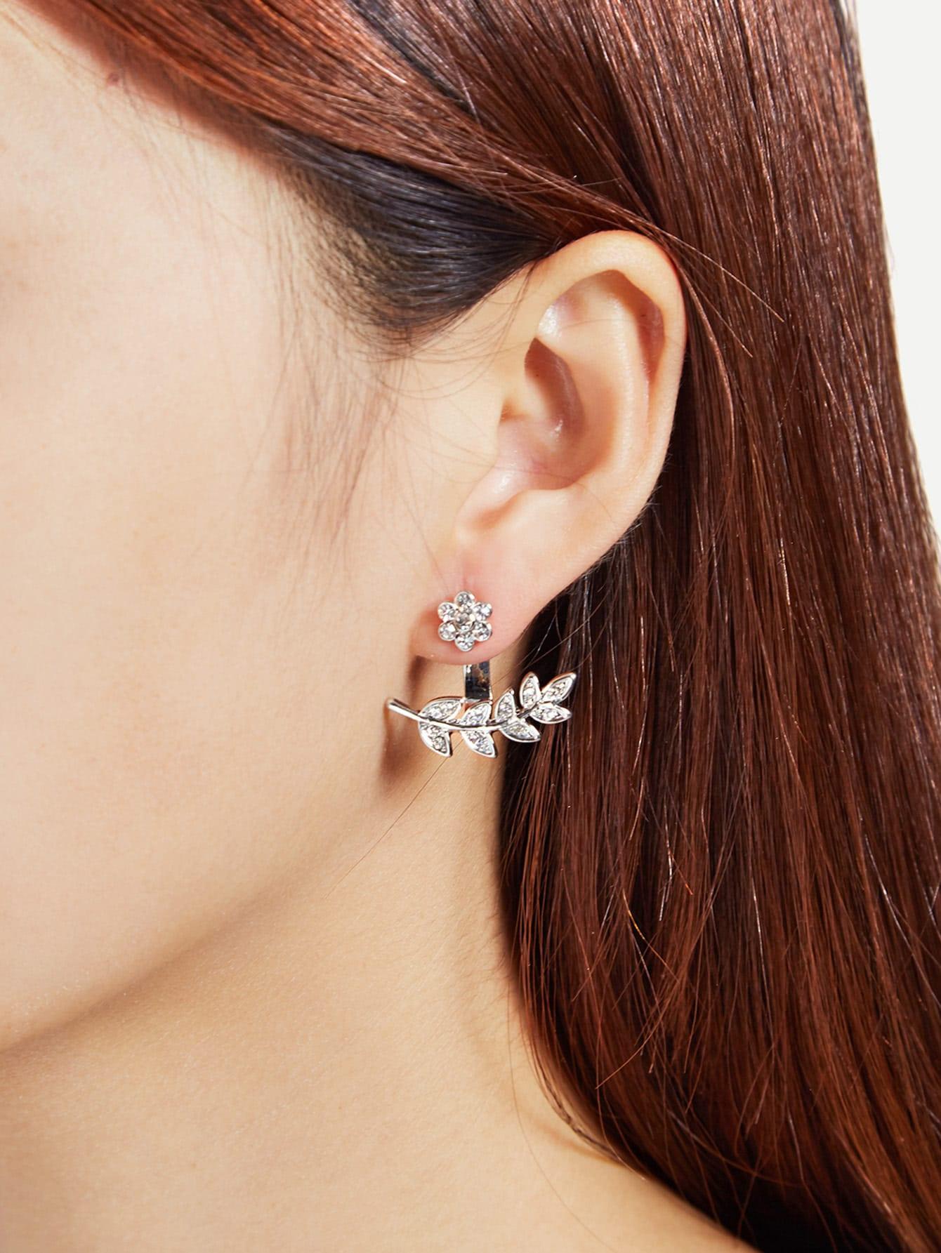 Фото Leaf & Flower Design Rhinestone Stud Earrings. Купить с доставкой