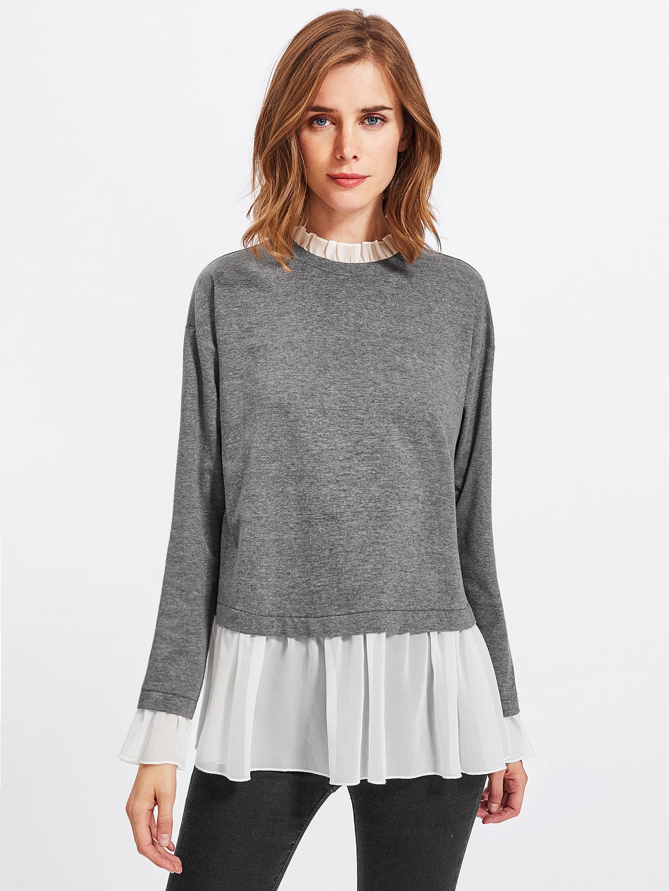 цена на Contrast Ruffle Trim Heather Knit Sweatshirt