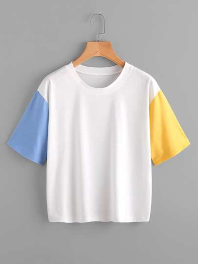 Tee-shirt color-block découpé