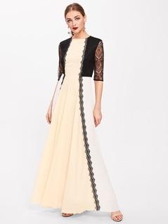 Lace Overlay Paneled Kaftan Dress