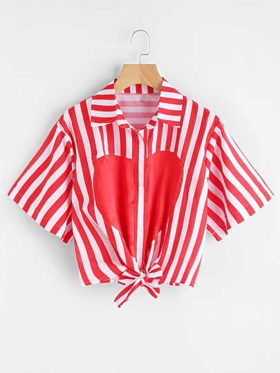 Heart Print Striped Knot Front Shirt