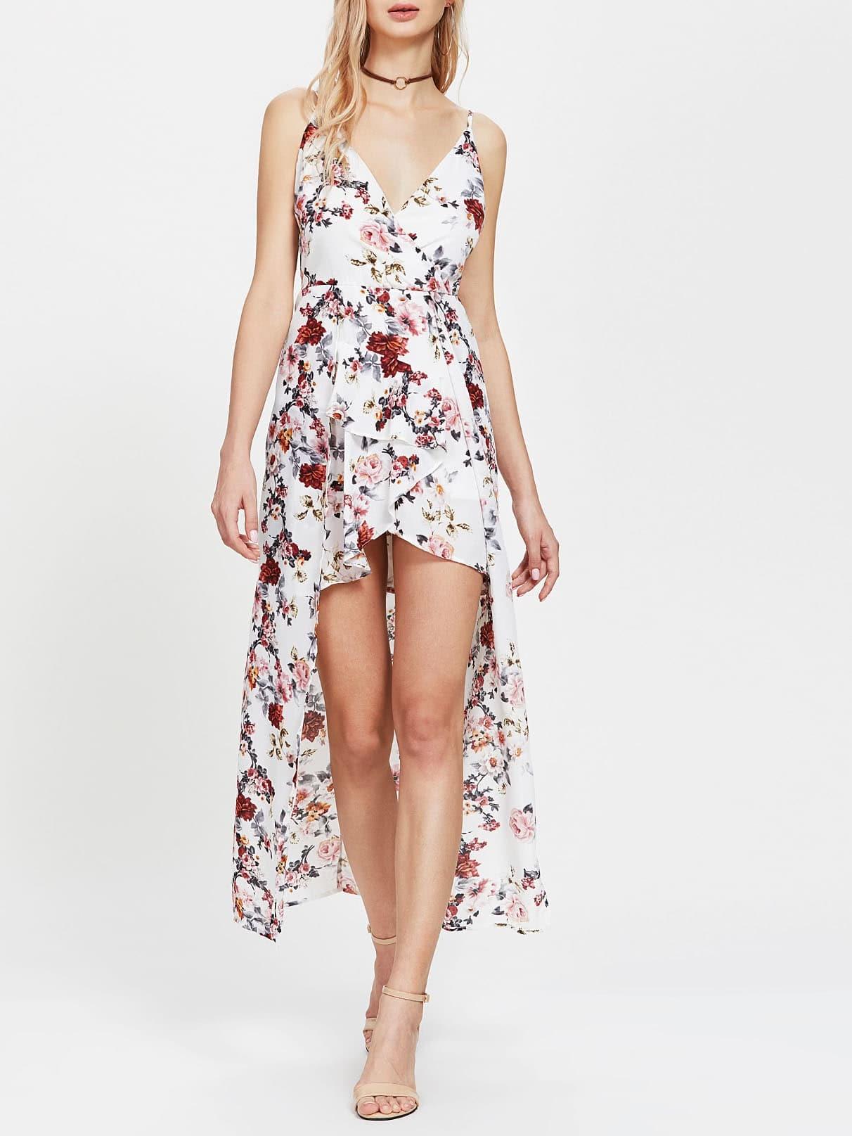 Floral Print Asymmetrical Playsuit jumpsuit170626402